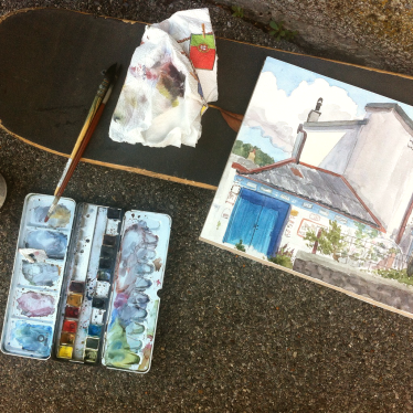 Outdoor watercolor session Lausanne