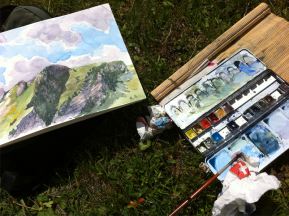 outdoor water color session Crans-Montana
