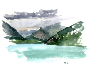 Quick watercolor on the boat to Thun